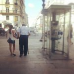 My dad getting help from niece Makena in Paris