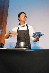 Top Chef Seattle Kristen Kish prepared the main course with braised short ribs.